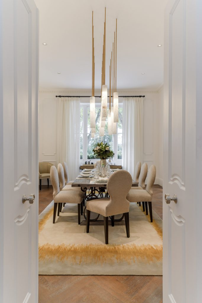 luxury townhouse interior, dining room interior, luxury dining table, belgravia apartments, traditional seven-story townhouse, contemporary designs, traditional london interior, townhouse designs, chesham place, interior designers, architects, luxury interior design, parisian elan, neutral tones interior design, grand architecture in london, luxury interiors in london, elegant townhouses in london