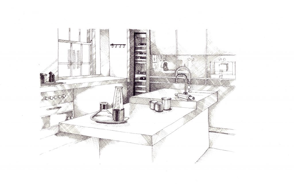 interior design sketch, architecture sketch, interior design kitchen, marble interiors, luxury interior design, london interiors, luxury london apartments, luxury kitchen designs, secretcape, portman swuare, orchard court