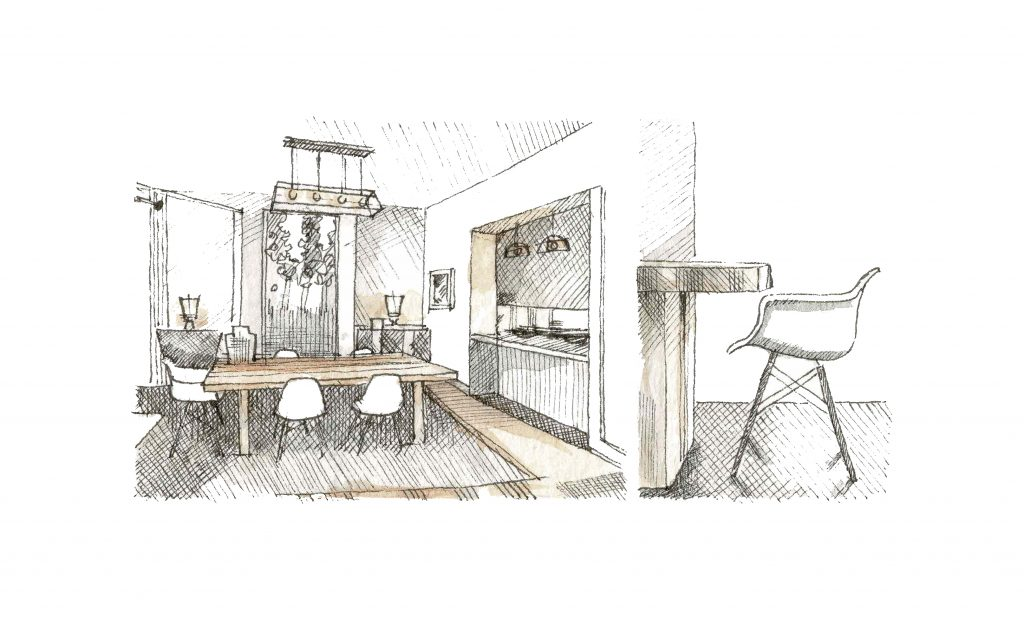Interior design sketch, Dining Room, Cadogan_Garden, Secretcape, artistic home, interior design in London, grand interior design